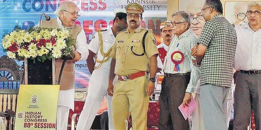 Historian Irfan Habeeb, third right, argues with Kerala Governor Arif Mohammed Khan, left, at the inauguration of the  80th Indian History Congress at the Kannur University on Saturday.