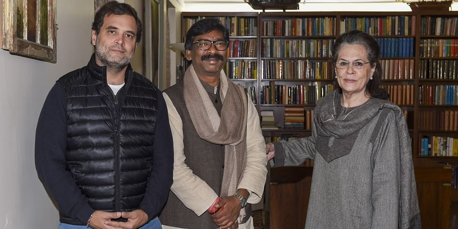 Jharkhand Chief Minister-designate Hemant Soren meets Congress interim President Sonia Gandhi and party leader Rahul Gandhi at Sonia's residence in New Delhi, Wednesday, Dec. 25, 2019.