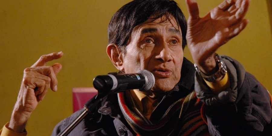 Veteran film star Dev Anand speaks at the Jaipur Literature Festival in Jaipur.