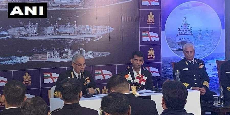 Navy Chief Admiral Karambir Singh at Navy Day press conference in Delhi