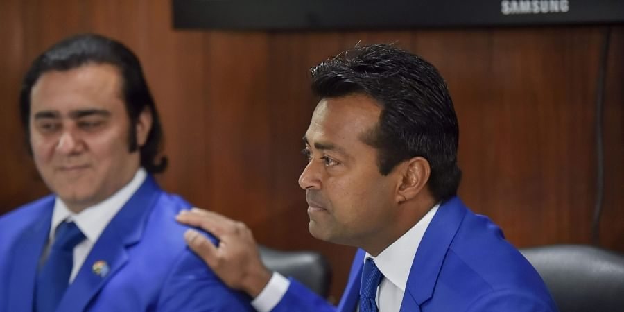 Veteran tennis player Leander Paes R and non-playing captain Rohit Rajpal addresse a press conference at DLTA in New Delhi Monday Dec. 2 2019. (Photo | PTI)