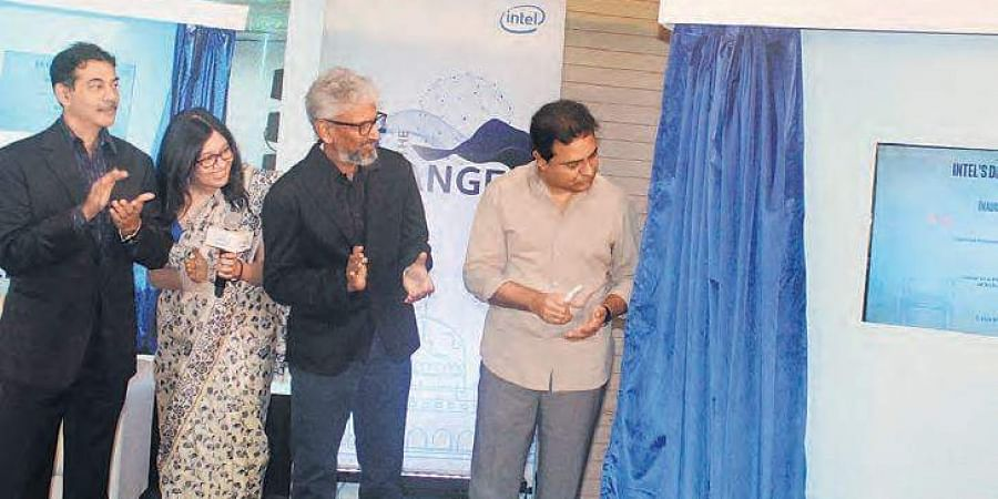 (Left to Right) Principal Secretary of IT, Jayesh Ranjan, Country head of Intel, Nivruti Rai, Senior VP of Intel, Raja M Kodur and IT Minister, KT Rama Rao at the inauguration of the Intel Design centre in Hyderabad on Monday