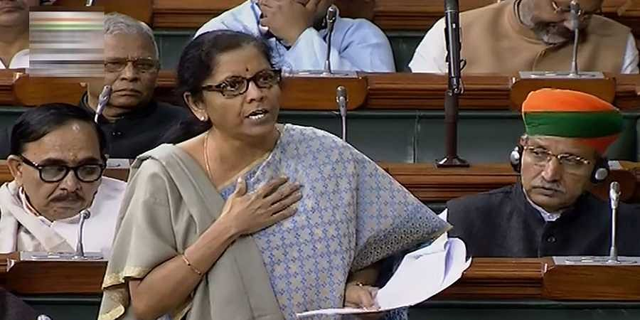 Union Minister Nirmala Sitharaman speaks in the Lok Sabha during the Winter Session of Parliament