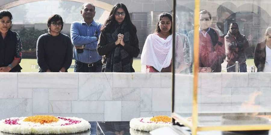 DCW chief Swati Maliwal visits Rajghat before starting indefinite hunger strike to protest against incidents of rape being reported from different parts of the country in the last few days.
