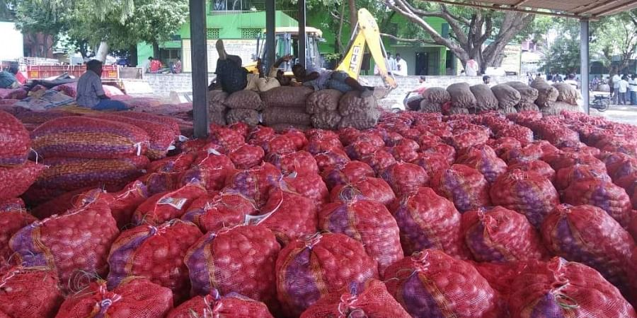 Onions arriving bulk amount at time to Kurnool Agriculture Market Yard
