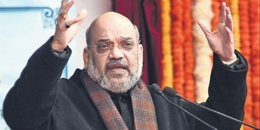 Home Minister Amit Shah speaks during the foundation laying ceremony. (Photo | EPS/Parveen Negi)