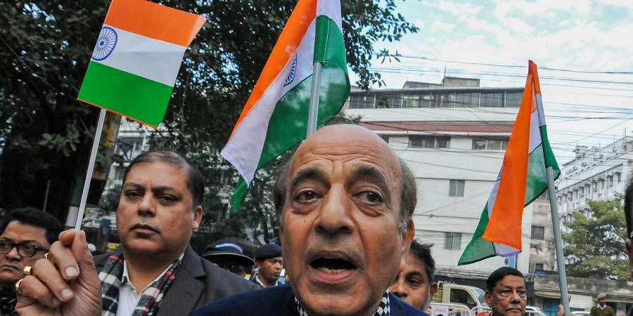 Trinamool Congress leader and former MP Dinesh Trivedi participates in a march to support the students of St. Xavier's College to show solidarity with students of Jamia Millia Islamia and Aligarh Muslim University in Kolkata Monday, December 2019.