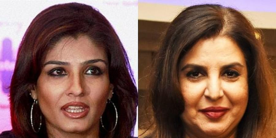 Raveena Tandon (L) and Farah Khan