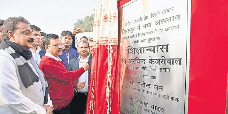 Chief Minister Arvind Kejriwal lays the foundation stone of 1,164-bed super-specialty hospital in Badlii on Sunday.