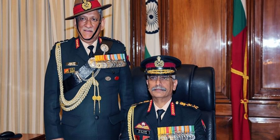 General Manoj Mukund Naravane takes charge as Chief of Army Staff in the presence of Chief of Defence Staff Gen Bipin Rawat in New Delhi