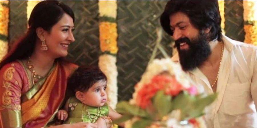 Actors Radhika Pandit and Yash with their daughter Ayra.