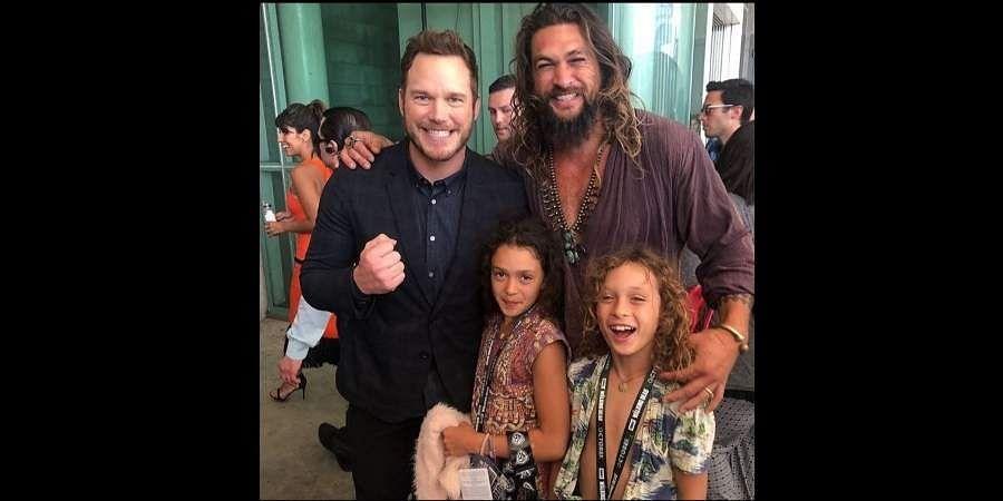 Chris Pratt (L) with Jason Momoa  (R) and his kids.
