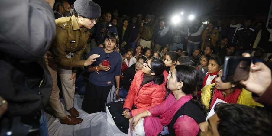 Delhi Commission for Women chief Swati Maliwal sits on indefinite hunger strike against the Hyderabad rape-murder case and growing incidents of crime against women at Jantar Mantar