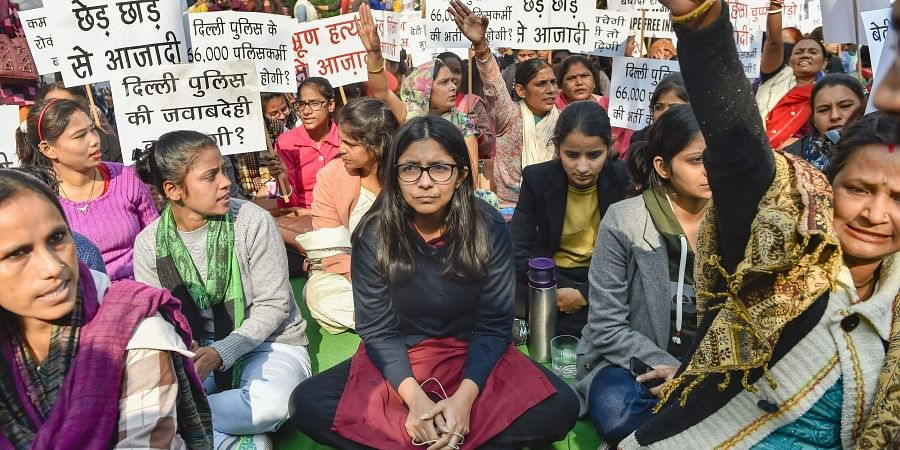 DCW chairperson Swati Maliwal sits on the second day of her hunger strike demanding for the rapists of Hyderabad rape-murder case to be hanged within six months of their conviction at Samta Sthal in New Delhi Wednesday Dec. 4 2019. (Photo | PTI)