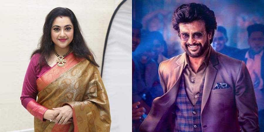 Actress Meena (L)and Superstar Rajinikanth (R)
