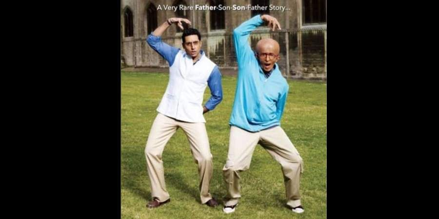 Father-son duo Amitabh Bachchan and Abhishek Bachchan in the poster of 'Paa'.