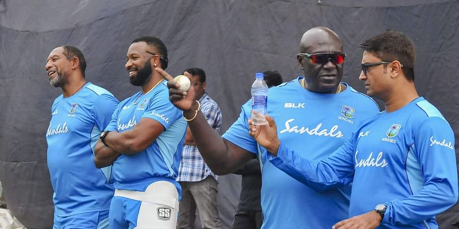 West Indies' players during a training session ahead of their first T-20 cricket match against India Hyderabad Wednesday Dec. 4 2019. (Photo | PTI)