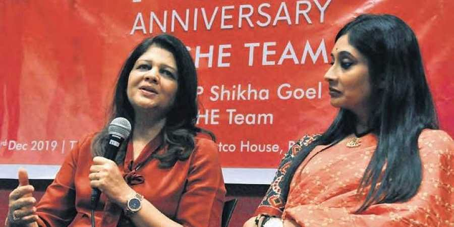Additional Commissioner of Police Shikha Goel speaks at the fifth anniversary of SHE Teams, at NATCO House in Hyderabad.