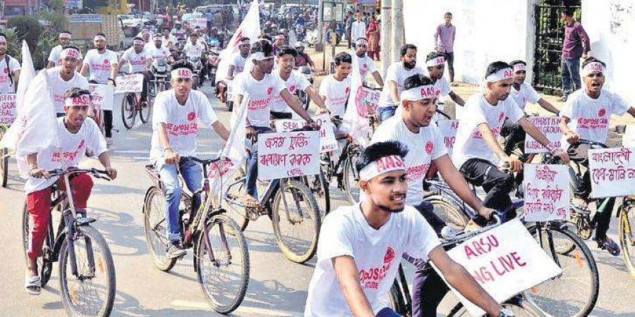 All Assam Students' Union (AASU) members take part in a cycle rally to protest against the Citizenship Amendment Bill in Guwahati on Monday