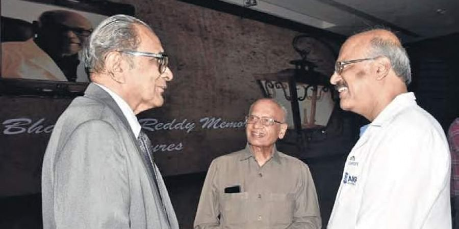 AIG Hospitals chairman Dr Nageshwar Reddy interacting with  Prof MS Valiathan and Prof VI Mathan during the Dr D Bhaskara Reddy Memorial Lecture, in Hyderabad on Tuesday