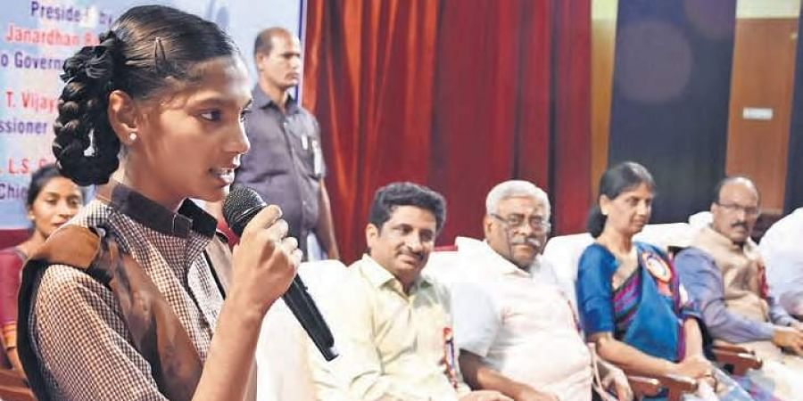 A student speaks during 'My Choice-My Furture' career guidance programme in Hyderabad on Tuesday.