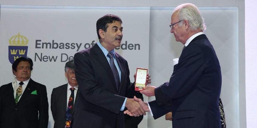 TelanganaIT Secretary Jayesh Ranjan receives the Royal Order of Polar Star from King Carl XVl Gustaf & Queen Silvia of Sweden