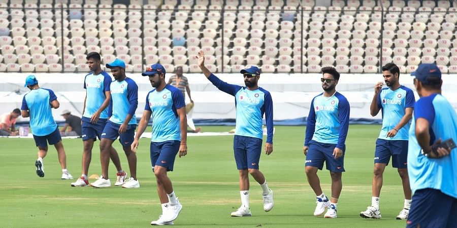 Indian players during a training session ahead of their T20 match against West Indies at Rajiv Gandhi International Cricket Stadium Uppal in Hyderabad. (EPS   Vinay Madapu)