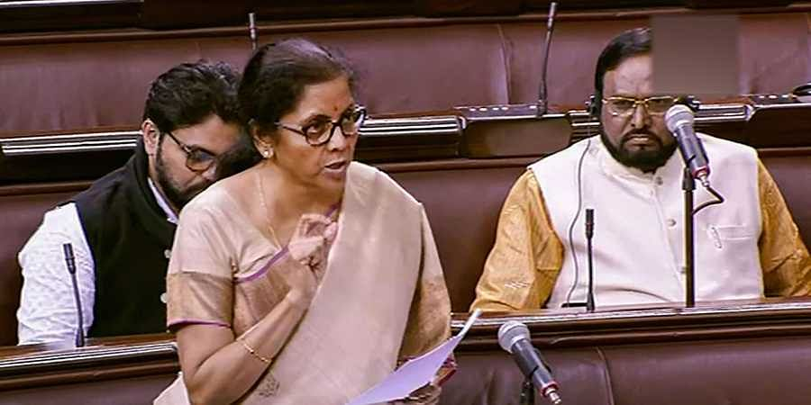 Union minister Nirmala Sitharaman speaks in the Rajya Sabha during the ongoing Winter Session of Parliament in New Delhi Thursday.