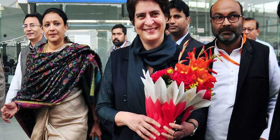 AICC general secretary Priyanka Gandhi Vadra arrives at Chaudhary Charan Singh International Airport to attend a two-day function in Lucknow Friday Dec. 6 2019.