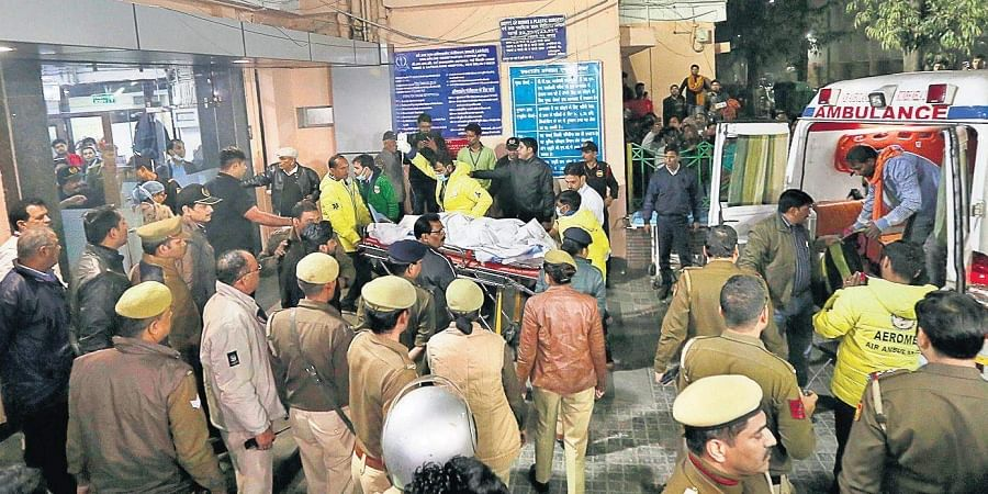 The Unnao rape survivor arrives at the Safdarjung Hospital in New Delhi on Thursday.
