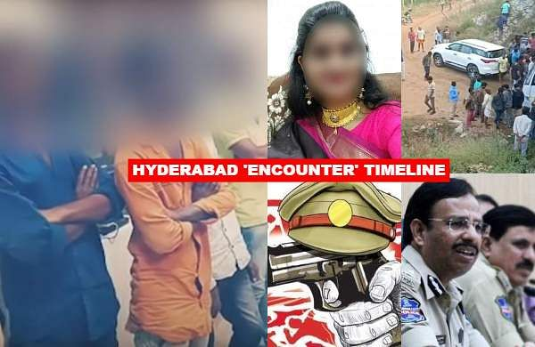 The four accused in the rape and murder of a 26-year-old veterinarian in Hyderabad were killed by the police inthe early hours of Friday at the spot where the victim's charredbody had earlier been found. Here's a timeline of events that unfolded.