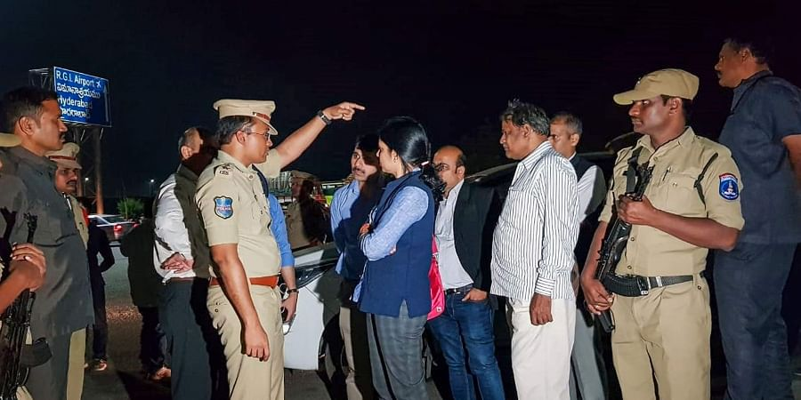 NHRC members visit the encounter site where yesterday police shot dead four accused involved in the rape-and-murder case of a woman veterinarian at Shamshabad in Hyderabad Saturday Dec. 7 2019. (Photo | PTI)