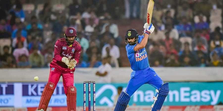 India's skipper Virat Kohli plays a shot during the first T20 cricket match against West Indies. (Photo | PTI)