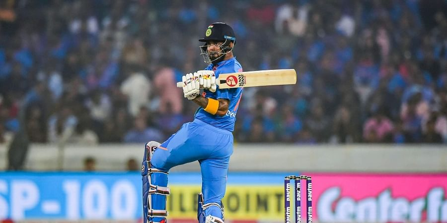 India's KL Rahul plays a shot during the first T20 cricket match against West Indies at Rajiv Gandhi International Stadium in Hyderabad. (Photo | PTI)