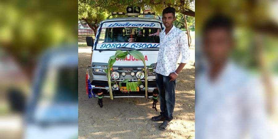 S Akash with his ambulance