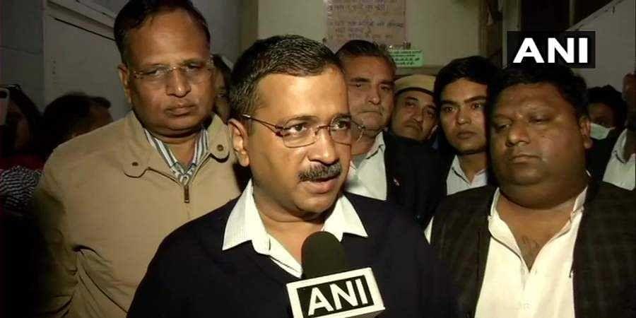 Delhi CM Arvind Kejriwal at LNJP Hospital.