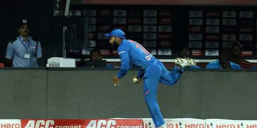 Virat Kohli catches the ball to dismiss Shimron Hetmyer. (Photo | Twitter/@BCCI)