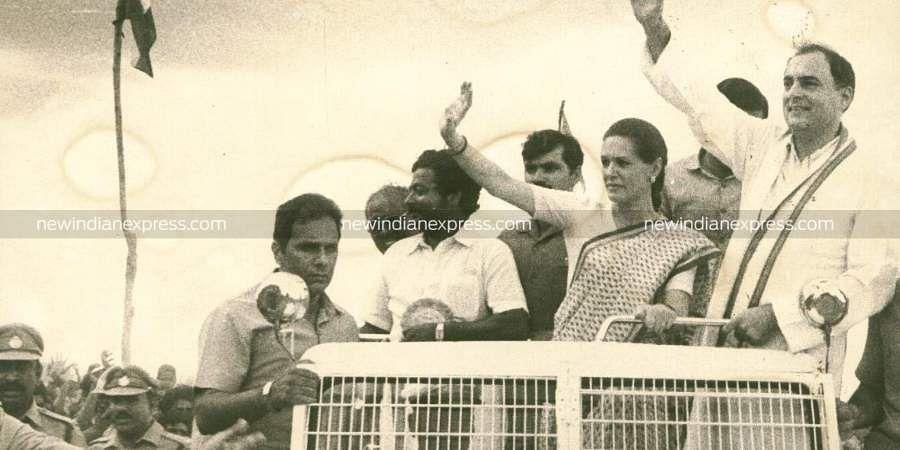 Congress leader Sonia Gandhi with her husband former Prime Minister Rajiv Gandhi. (File Photo | EPS)