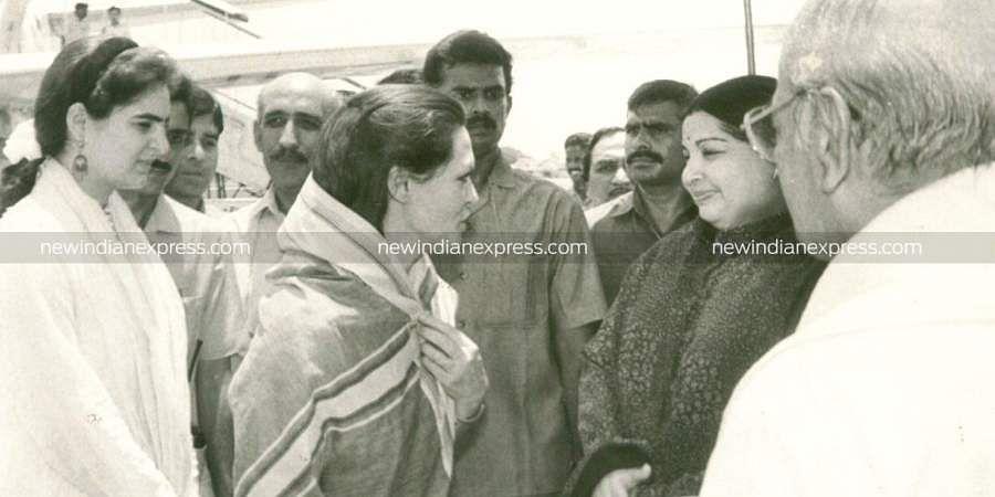 Then Tamil Nadu CM J Jayalalithaa meeting Sonia Gandhi and her daughter Priyanka.
