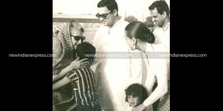 Former PM Indira Gandhi kissing her grandson Rahul. Also seen are Rajiv Gandhi with Sonia Gandhi and daughter Priyanka.