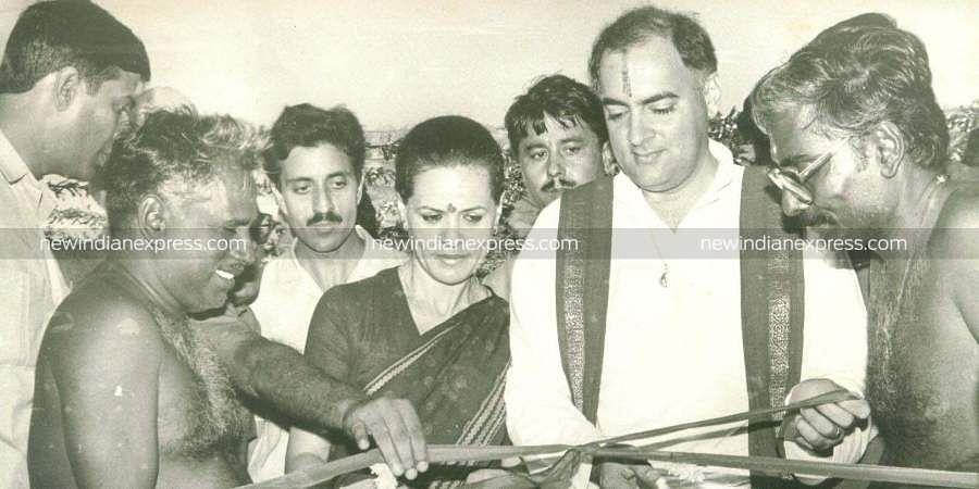 Former Prime Minister of India Rajiv Gandhi with Sonia Gandhi and Bangaru Adigalar.