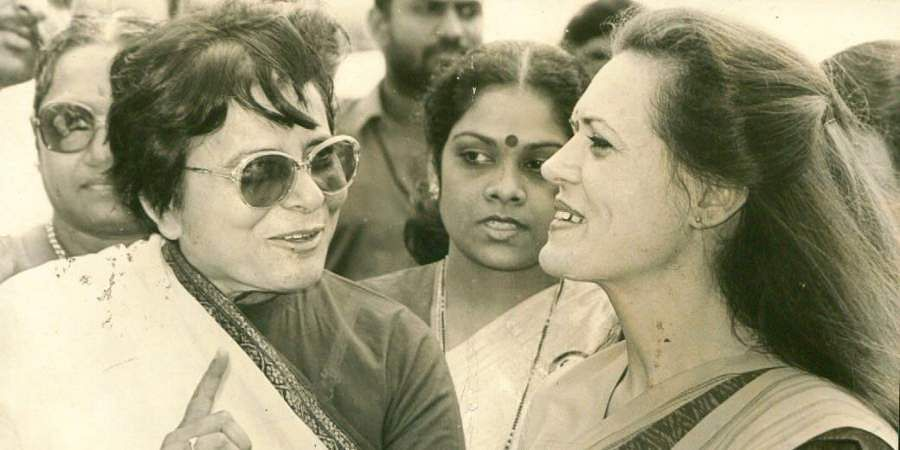 Congress Leader and wife of late Prime Minister Rajiv Gandhi, Sonia Gandhi (right).