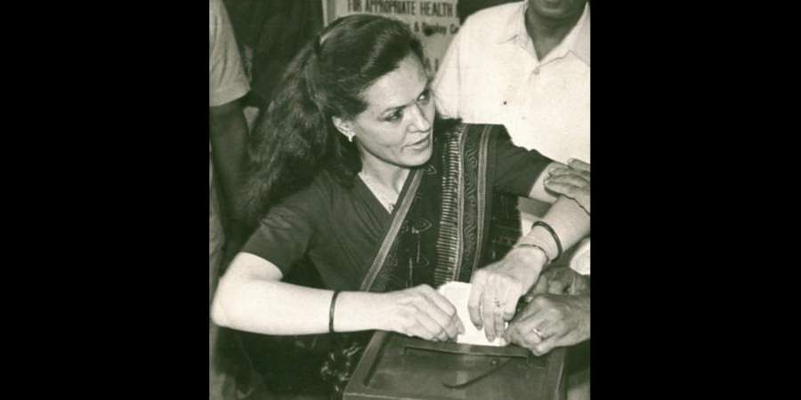 Congress leader and wife of late PM Rajiv Gandhi, Sonia Gandhi casting her vote in the Ballot Box.