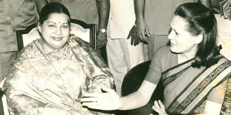 Then Tamil Nadu CM J Jayalalithaa with Sonia Gandhi.