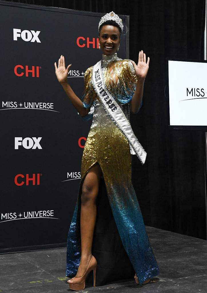 Newly crowned Miss Universe 2019 South Africa's Zozibini Tunzi arrives for a press conference after the 2019 Miss Universe pageant at the Tyler Perry Studios in Atlanta, Georgia