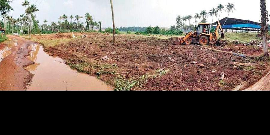 Ground-levelling works in full swing at Brahmapuram.