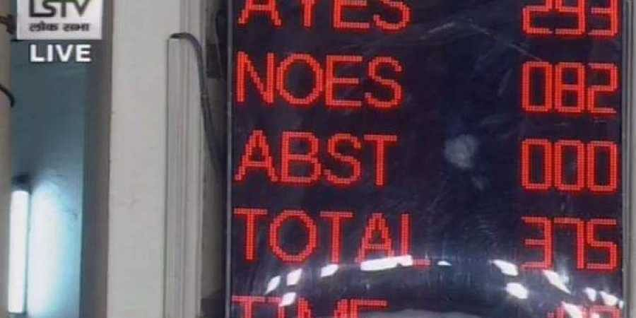 293 'Ayes' in favour of introduction of Citizenship Amendment Bill and 82 'Noes' against the Bill's introduction, in Lok Sabha. (Photo | Twitter)