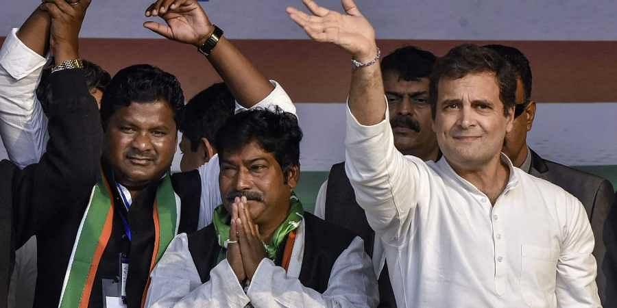 Congress MP Rahul Gandhi uring an election campaign rally in support of party candidates from Kanke Suresh Baitha and Khijri's Rajesh Kacchap for the third phase of Jharkhand Assembly elections in Ranchi Monday Dec. 9 2019. (Photo | PTI)