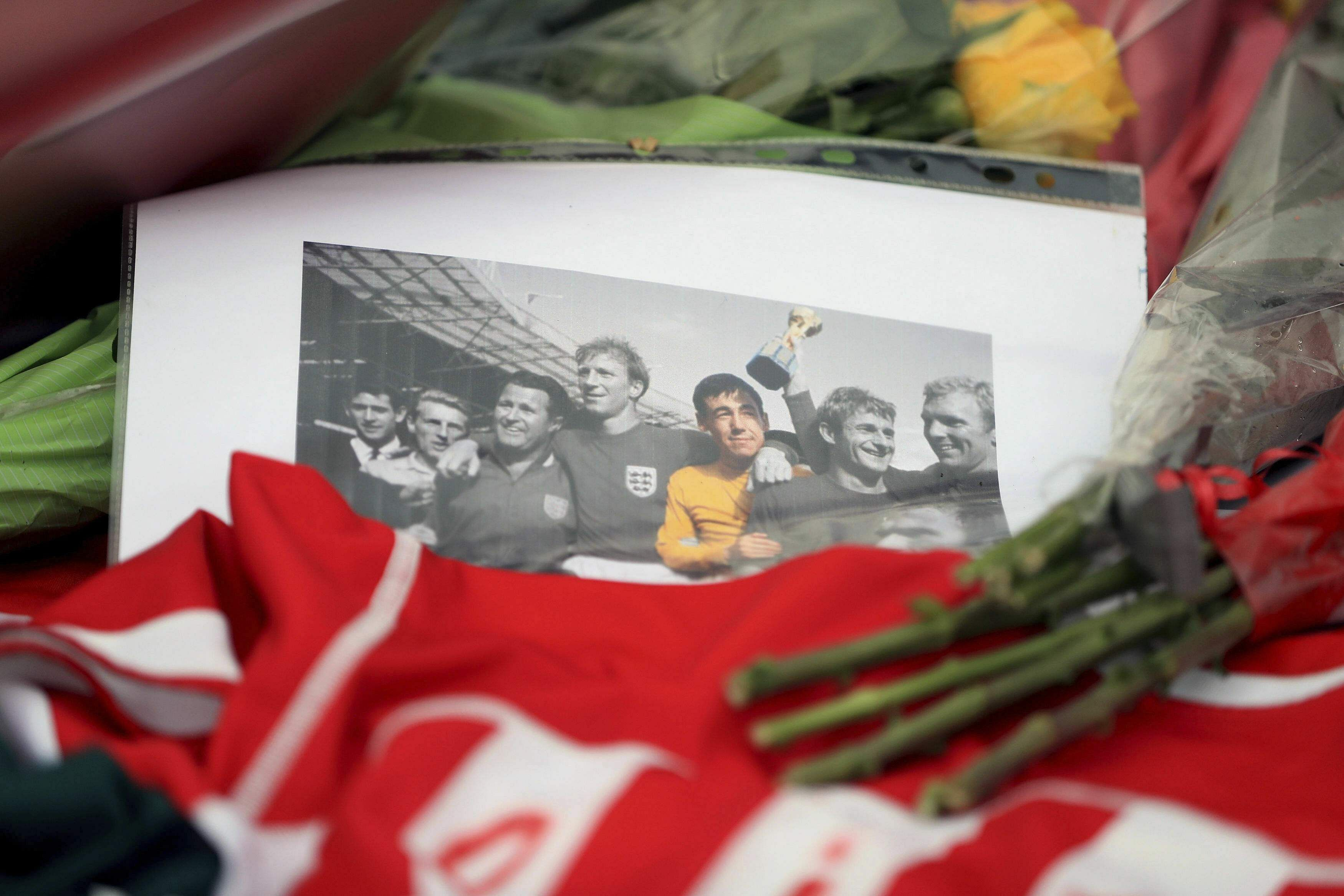Tributes are left in memory of England's World Cup-winning goalkeeper Gordon Banks, outside the bet365 Stadium, home of Stoke City, in Stoke, England, Tuesday, Feb. 12, 2019.