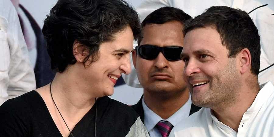 Congress president Rahul Gandhi and his sister Priyanka Gandhi